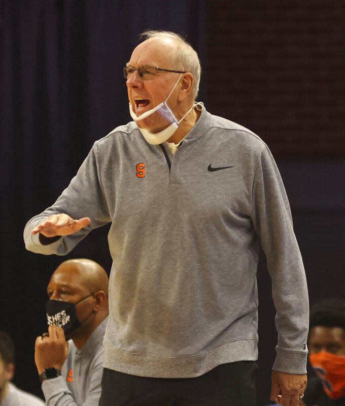 Syracuse head coach Jim Boeheim reacts to a call during an NCAA college basketball game against Virginia, Monday, Jan. 25, 2021, in Charlottesville, Va. (Andrew Shurtleff/The Daily Progress via AP)