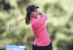 Georgia Hall, of England, watches her tee shot on the 11th hole during the final round of the LPGA Cambia Portland Classic golf tournament in Portland, Ore., Sunday, Sept. 20, 2020. (AP Photo/Steve Dipaola)
