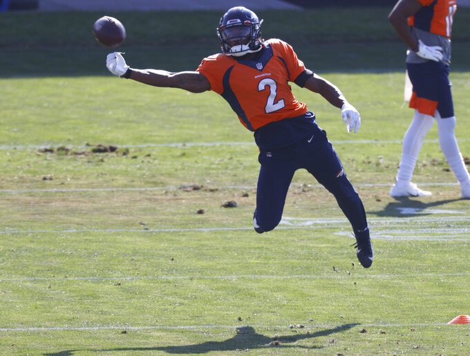 Denver Broncos wide receiver Kendall Hinton takes part in drills during an NFL football practice Monday, Aug. 31, 2020, in Englewood, Colo. (AP Photo/David Zalubowski)