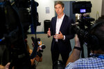 Democratic Presidential candidate Beto O'Rourke speaks to the media during a visit to the Oklahoma City National Memorial & Museum in Oklahoma City, Okla. on Monday, Aug. 19, 2019. (Chris Landsberger/The Oklahoman, via AP)