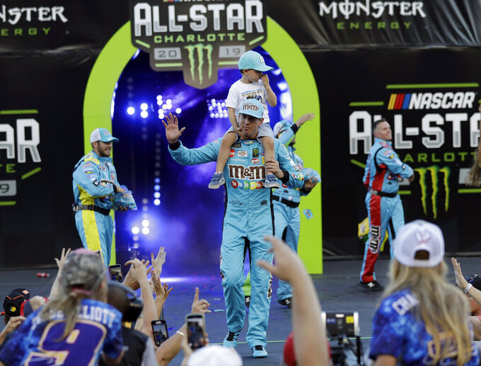 Kyle Busch is introduced for the NASCAR All-StarRace at Charlotte Motor Speedway in Concord, N.C., Saturday, May 18, 2019. (AP Photo/Chuck Burton)