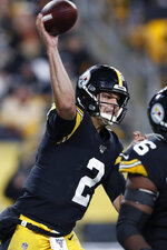 Pittsburgh Steelers quarterback Mason Rudolph throws a pass during the second half of the team's NFL football game against the Los Angeles Rams in Pittsburgh, Sunday, Nov. 10, 2019. (AP Photo/Keith Srakocic)