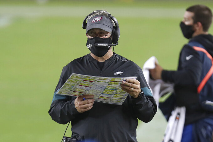 Philadelphia Eagles head coach Doug Pederson watches during the second half of an NFL football game against the San Francisco 49ers in Santa Clara, Calif., Sunday, Oct. 4, 2020. (AP Photo/Jed Jacobsohn)