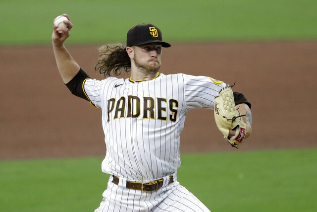 San Diego Padres starting pitcher Chris Paddack works against a Los Angeles Dodgers batter during the fourth inning of a baseball game Monday, Aug. 3, 2020, in San Diego. (AP Photo/Gregory Bull)