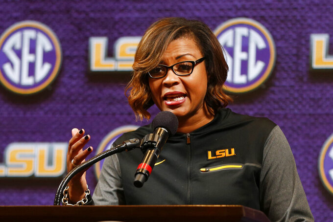 FILE - LSU women's NCAA college basketball head coach Nikki Fargas speaks during the Southeastern Conference basketball media day in Birmingham, Ala., in this Thursday, Oct. 17, 2019, file photo. Nikki Fargas is in negotiations to become Las Vegas Aces president, a person familiar with the discussions told The Associated Press. The person spoke to the AP on Friday, April 16, 2021, on condition of anonymity because no deal has been finalized. (AP Photo/Butch Dill, File)
