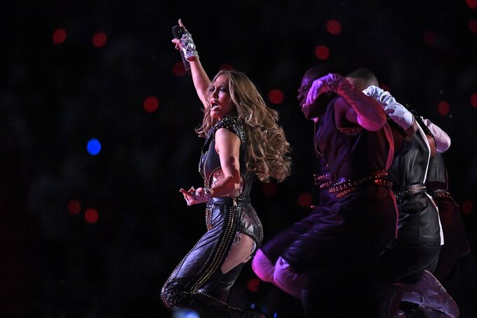 Jennifer Lopez performs during halftime of the NFL Super Bowl 54 football game between the San Francisco 49ers and the Kansas City Chiefs Sunday, Feb. 2, 2020, in Miami Gardens, Fla. (AP Photo/Mark J. Terrill)