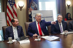 President Donald Trump, center, points to members of his Cabinet while speaking during a Cabinet meeting in the Cabinet Room of the White House, Monday, Oct. 21, 2019, in Washington, as Health and Human Services Secretary Alex Azar, left, and Secretary of State Mike Pompeo, right, listen. (AP Photo/Pablo Martinez Monsivais)