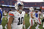 Auburn quarterback Bo Nix leaves the field after the team's 24=13 loss to Florida in an NCAA college football game Saturday, Oct. 5, 2019, in Gainesville, Fla. (AP Photo/John Raoux)