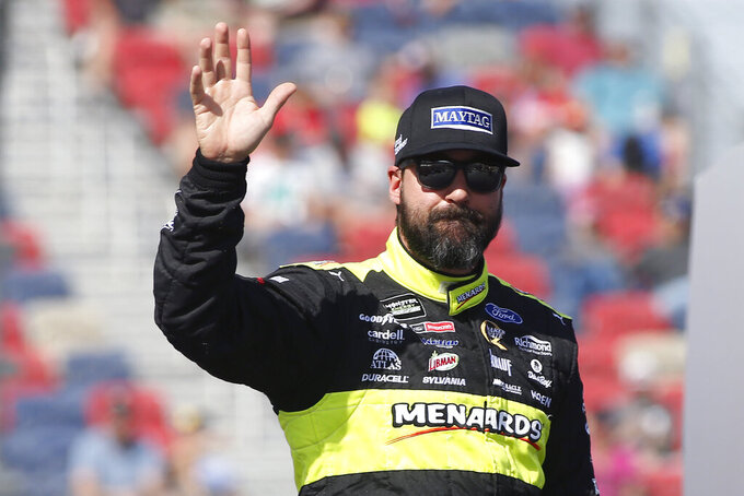 Paul Menard during driver introductions prior to the NASCAR Cup Series auto race at ISM Raceway, Sunday, Nov. 10, 2019, in Avondale, Ariz. (AP Photo/Ralph Freso)