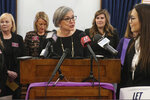 Kansas Senate President Susan Wagle, R-Wichita, speaks during a news conference on a proposed amendment to the state constitution on abortion, Thursday, Jan. 16, 2020, at the Statehouse in Topeka, Kansas. The amendment would overturn a Kansas Supreme Court decision protecting abortion rights. (AP Photo/John Hanna)