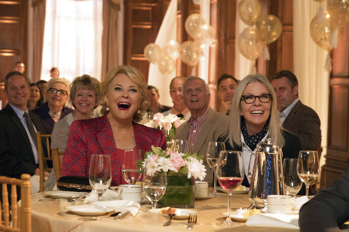 This image released by Paramount Pictures shows Candice Bergen, left, and Diane Keaton in a scene from