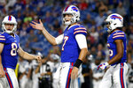 Buffalo Bills quarterback Josh Allen, center, gestures during the second half of an NFL football game against the Carolina Panthers, Thursday, Aug. 9, 2018, in Orchard Park, N.Y. (AP Photo/Jeffrey T. Barnes)