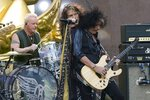 FILE - In this Aug. 15, 2018, file photo, Joey Kramer, from left, Steven Tyler and Joe Perry of Aerosmith perform on NBC's
