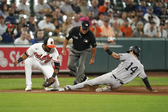 New York Yankees' Tyler Wade, right, steals third base as Baltimore Orioles third baseman Kelvin Gutierrez tries to apply a tag during the ninth inning of a baseball game, Wednesday, Sept. 15, 2021, in Baltimore. (AP Photo/Julio Cortez)