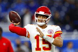 Kansas City Chiefs quarterback Patrick Mahomes throws during pregame of an NFL football game against the Detroit Lions, Sunday, Sept. 29, 2019, in Detroit. (AP Photo/Paul Sancya)
