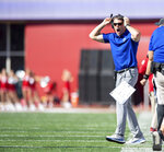 Eastern Illinois head coach Adam Cushing reacts to a call on the field during the first half of an NCAA college football game against Indiana Saturday, Sept. 7, 2019, in Bloomington, Ind. (AP Photo/Doug McSchooler)