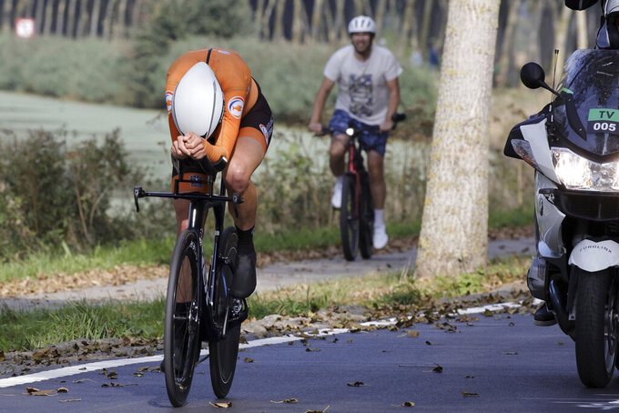Netherlands' Ellen Van Dijk competes during the Women Elite individual time trial race at the World Road Cycling Championships in Bruges, Belgium, Monday Sept. 20, 2021. (AP Photo/Olivier Matthys)