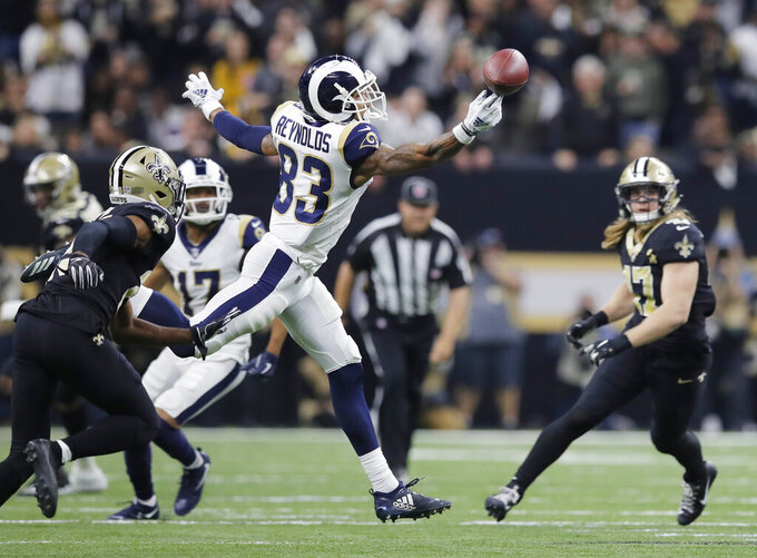 Los Angeles Rams' Josh Reynolds can't catch a pass during the first half of the NFL football NFC championship game against the New Orleans Saints, Sunday, Jan. 20, 2019, in New Orleans. (AP Photo/Carolyn Kaster)