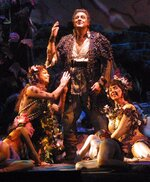 FILE - In this Monday, March 26, 2001, file photo, Placido Domingo is surrounded by actresses portraying flower maidens as he sings in the title role of