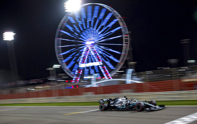 Mercedes driver Lewis Hamilton of Britain steers his car during during the Formula One Bahrain Grand Prix at the Sakhir circuit in Bahrain, Sunday, March 31, 2019. (Andrej Isakovic, Pool Photo via AP)