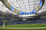 The Los Angeles Rams hold their first practice at their new stadium Saturday, Aug. 22, 2020, in Inglewood, Calif. (AP Photo/Kyusung Gong)