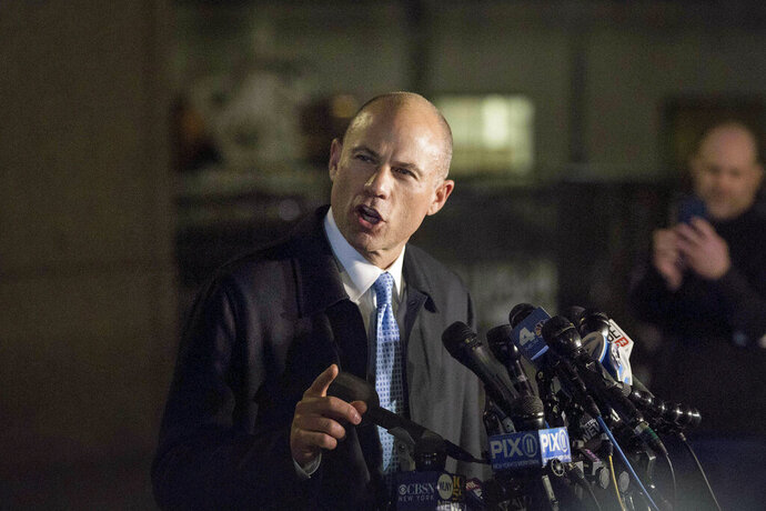Attorney Michael Avenatti delivers remarks in front of federal court after his initial appearance in an extortion case Monday, March 25, 2019, in New York. Avenatti was arrested Monday on charges that included trying to shake down Nike for as much as $25 million by threatening the company with bad publicity. (AP Photo/Kevin Hagen)