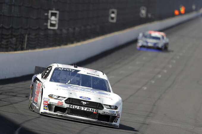 NASCAR Xfinity Series driver Chase Briscoe drives into turn one during the NASCAR Xfinity auto race at the Indianapolis Motor Speedway, Saturday, Sept. 7, 2019 in Indianapolis. (AP Photo/Darron Cummings)