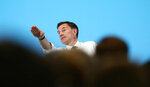 Britain's Conservative Party leadership candidate Jeremy Hunt addresses the audience during a party leadership hustings meeting in Maidstone, southern England, Thursday July 11, 2019.  The two contenders, Jeremy Hunt and Boris Johnson are competing for votes from party members, with the winner replacing Prime Minister Theresa May as party leader and Prime Minister of Britain's ruling Conservative Party. (Gareth Fuller/PA via AP)