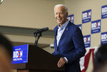Former vice president and 2020 Democratic presidential candidate Joe Biden speaks during a campaign stop at the Local 838 UAW Hall, Wednesday, July 3, 2019, in Waterloo, Iowa. (Kelly Wenzel/The Courier via AP)