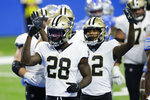 New Orleans Saints running back Latavius Murray (28) reacts after his 3-yard rush for a touchdown during the first half of an NFL football game against the Detroit Lions, Sunday, Oct. 4, 2020, in Detroit. (AP Photo/Duane Burleson)