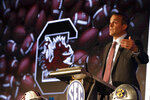 South Carolina head coach Shane Beamer speaks to reporters during the NCAA college football Southeastern Conference Media Days, Monday, July 19, 2021, in Hoover, Ala. (AP Photo/Butch Dill)