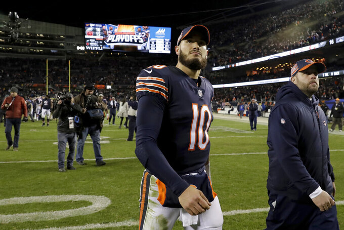 Chicago Bears quarterback Mitchell Trubisky (10) walks off the field after an NFL wild-card playoff football game against the Philadelphia Eagles Sunday, Jan. 6, 2019, in Chicago. The Eagles won 16-15. (AP Photo/Nam Y. Huh)