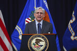 U.S. Attorney General Merrick Garland speaks about voting rights at the Justice Department in Washington, on Friday, June 11, 2021. (Tom Brenner/The New York Times via AP, Pool)