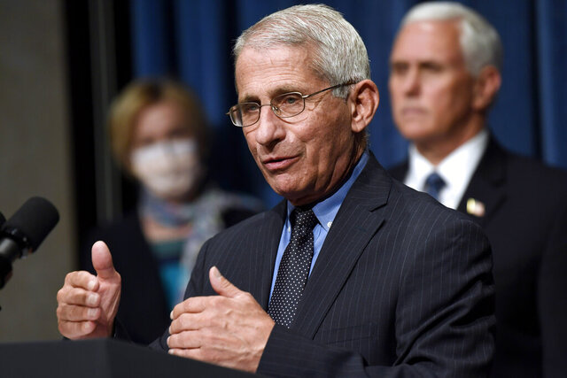 "FILE - In this June 26, 2020, file photo Director of the National Institute of Allergy and Infectious Diseases Dr. Anthony Fauci, center, speaks as Vice President Mike Pence, right, and Dr. Deborah Birx, White House coronavirus response coordinator, left, listen during a news conference with members of the Coronavirus task force at the Department of Health and Human Services in Washington. Fauci has warned that the United States could soon see 100,000 infections per day. ""We haven't even begun to see the end of it yet,"" Fauci said during a talk hosted by Stanford University's School of Medicine. (AP Photo/Susan Walsh, File)"