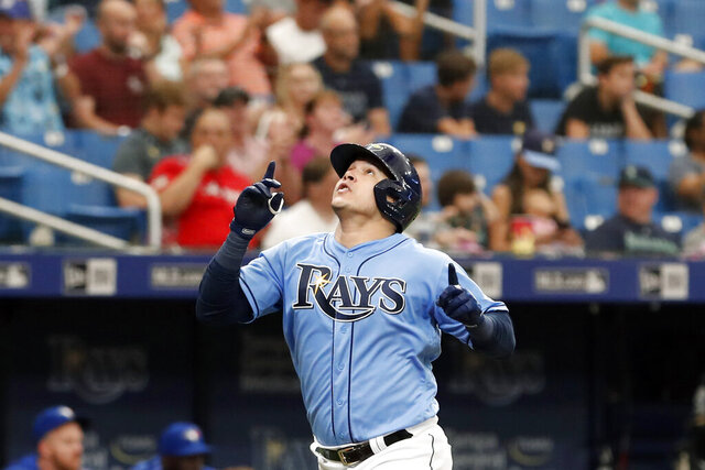 FILE - In this Sept. 8, 2019, file photo, Tampa Bay Rays' Avisail Garcia reacts after hitting a home run against the Toronto Blue Jays during the seventh inning of a baseball game, in St. Petersburg, Fla. García's $20 million, two-year contract with the Milwaukee Brewers was finalized Tuesday, Dec. 17, 2019, a deal that includes a 2022 club option and could be worth $30 million over three years.(AP Photo/Scott Audette, File)