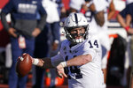 Penn State quarterback Sean Clifford (14) throws during the first half of an NCCAA college football game against Indiana, Saturday, Oct. 24, 2020, in Bloomington, Ind. (AP Photo/Darron Cummings)