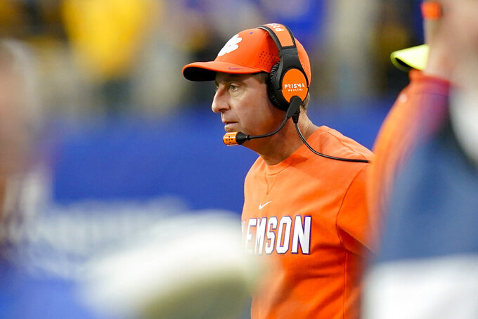 Clemson head coach Dabo Swinney watches as his team plays against Pittsburgh during the second half of an NCAA college football game, Saturday, Oct. 23, 2021, in Pittsburgh. Pittsburgh won 27-17. (AP Photo/Keith Srakocic)