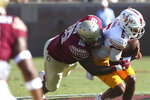 Florida State's Cory Durden, left, sacks Louisiana-Monroe's Caleb Evans in the first quarter of an NCAA college football game Saturday, Sept. 7, 2019, in Tallahassee Fla. (AP Photo/Steve Cannon)v