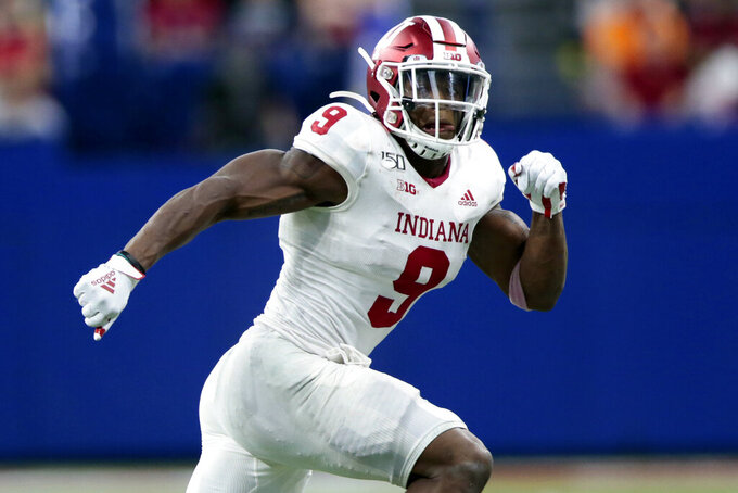 FILE - In this Aug. 31, 2019, file photo, Indiana defensive back Marcelino Ball (9) chases a play as during an NCAA football game against Ball State in Indianapolis. Indiana coach Tom Allen announced Monday, Sept. 28, 2020, that Ball, a fifth-year senior, tore an anterior cruciate ligament during workouts last week and will miss the entire 2020 season. (AP Photo/AJ Mast, File)