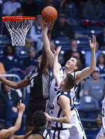 Butler forward Nate Fowler (51) battles for a rebound with Providence guard David Duke (3) during the second half of an NCAA college basketball game, Tuesday, Feb. 26, 2019, in Indianapolis. Providence won 73-67. (AP Photo/Doug McSchooler)
