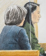 In this courtroom sketch, Meng Wanzhou, right, the chief financial officer of Huawei Technologies, sits beside a translator during a bail hearing at British Columbia Supreme Court in Vancouver, on Friday, Dec.  7, 2018.  Meng faces extradition to the U.S. on charges of trying to evade U.S. sanctions on Iran. She appeared in a Vancouver court Friday to seek bail.  (Jane Wolsak/The Canadian Press via AP)