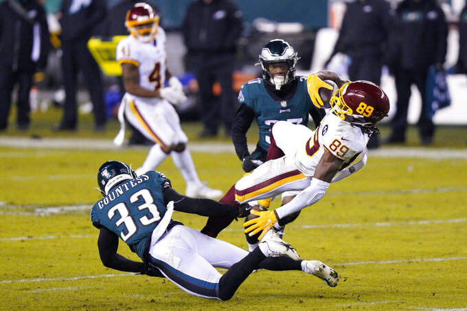 Washington Football Team's Cam Sims (89) is tackled by Philadelphia Eagles' Blake Countess (33) during the first half of an NFL football game, Sunday, Jan. 3, 2021, in Philadelphia. (AP Photo/Chris Szagola)