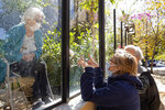 Yara Loureiro, right, speaks with her 90-year-old mother Lourdes Giannini through a glass window at the Premier Hospital, where her mother is a patient after suffering a stroke, in Sao Paulo, Brazil, Tuesday, May 26, 2020. The hospital does not have any cases of COVID-19, but has closed visits to patients to prevent contagion of the new coronavirus. (AP Photo/Andre Penner)