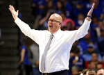 FILE - In this Nov. 17, 2017, file photo, East Tennessee State head coach Steve Forbes reacts to a play during the second half of an NCAA college basketball game against Kentucky in Lexington, Ky. Wake Forest has hired East Tennessee State's Steve Forbes as its men's basketball coach. The school announced the hiring Thursday, April 30, 2020. (AP Photo/James Crisp, File)