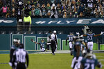 Philadelphia Eagles' Travis Fulgham (13) celebrates after scoring a touchdown on a fumble by the Dallas Cowboys during the second half of an NFL football game, Sunday, Nov. 1, 2020, in Philadelphia. (AP Photo/Derik Hamilton)