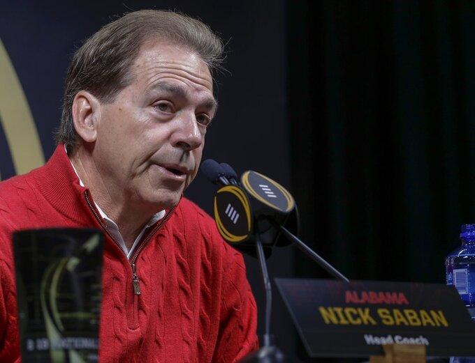 Alabama head coach Nick Saban answers questions during media day for the NCAA college football playoff championship game Saturday, Jan. 5, 2019, in Santa Clara, Calif. (AP Photo/Chris Carlson)
