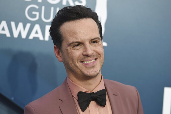 FILE - In this Jan. 19, 2020, file photo, Andrew Scott arrives for the 26th annual Screen Actors Guild Awards at the Shrine Auditorium & Expo Hall in Los Angeles. Scott and Ian McKellen were among acting winners as Britain's Laurence Olivier Awards celebrated the best of the London stage in bittersweet fashion Sunday night, Oct. 25, 2020 - most U.K. theaters remain closed because of the coronavirus pandemic.(Photo by Jordan Strauss/Invision/AP, File)