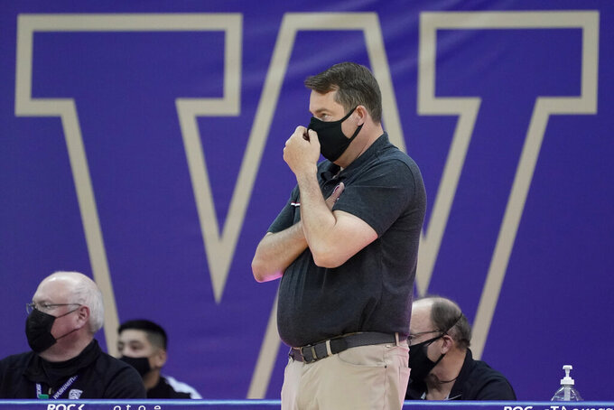 Stanford coach Jerod Haase watches from the bench during the second half of the team's NCAA college basketball game against Washington, Thursday, Feb. 18, 2021, in Seattle. (AP Photo/Ted S. Warren)