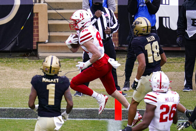 Nebraska wide receiver Wyatt Liewer (85) runs in for a touchdown against Purdue during the second quarter of an NCAA college football game in West Lafayette, Ind., Saturday, Dec. 5, 2020. (AP Photo/Michael Conroy)