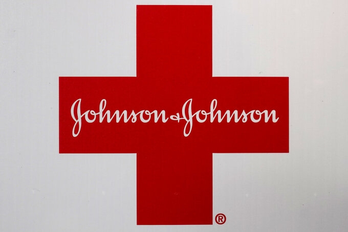 A Johnson & Johnson logo appears on the exterior of a first aid kit, Wednesday, Feb. 24, 2021, in Walpole, Mass. Johnson & Johnson (JNJ) on Tuesday, April 20 reported first-quarter net income of $6.2 billion. (AP Photo/Steven Senne)